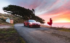 Картинка пляж, девушка, закат, ветер, платье, Alfa Romeo, Launch Edition, 2015