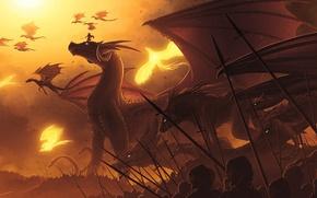 Картинка небо, волк, драконы, солдаты, Армия, феникс, гидра, копья