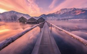 Обои озеро, мост, зима