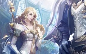 Картинка elf, волшебство, game wallpapers, магия, элийцы, Aion: The tower of eternity, girl, девушка, magic, жезл, ...