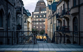 Картинка city, bicycle, road, Sweden, houses, buildings, Stockholm, railing