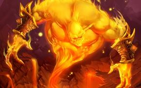 Картинка огонь, существо, арт, WoW, World of Warcraft, Hearthstone, Барон Геддон, Blackrock Mountain, Baron Geddon