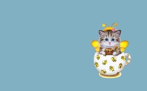 Картинка арт, кружка, пчёлка, мёд, котёнок, усики, детская, костюмчик, Каёми Хараи