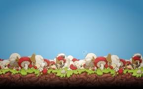 Картинка бабочка, поляна, рисунок, грибы, мох, улитки, черви, david lanham