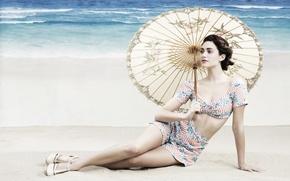 Картинка девушка, зонтик, знаменитости, актриса, брюнетка, певица, celebrity, Emmy Rossum