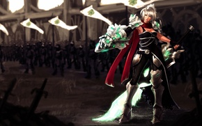 Картинка девушка, меч, армия, размытость, league of legends, riven
