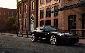Картинка улица, здание, BMW, black, front, 35i, sDrive, E89