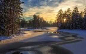 Картинка зима, пейзаж, закат, природа