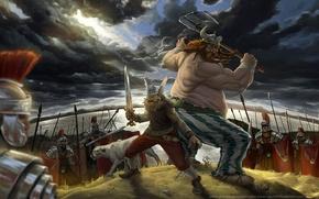 Обои топор, солдаты, астерикс, легионеры, римляни, обеликс, галлы, меч, воины