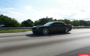 Картинка дорога, машина, авто, асфальт, Dodge, SRT8, Challenger, CVT, Vossen, Wheels