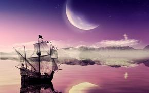 Картинка луна, корабль, moon, путешествие, ship, journey