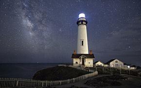 Обои море, Млечный Путь, маяк, космос, звезды