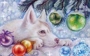 Картинка праздник, снег, арт, зима, игрушки, волк, елка, новый год, волчонок