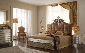 Обои интерьер, кресло, кровать, спальня