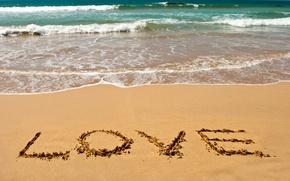 Картинка песок, море, пляж, лето, любовь, настроение, надпись, романтика, summer, love, beach, sea, sand, letters, writing
