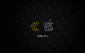 Обои apple, pac-man, think new