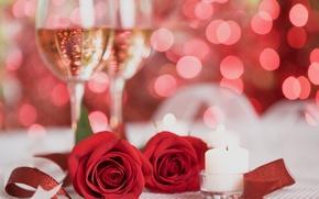 Картинка цветы, красный, розы, свечи, шампанское