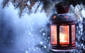 Обои new year, merry christmas, lantern, winter, snow, candle