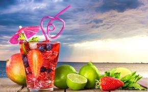 Обои море, пейзаж, тучи, стакан, ягоды, зонтик, фон, пасмурно, лимон, горизонт, клубника, коктейль, лайм, трубочка, фрукты