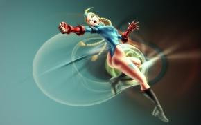 Картинка поза, голубой, блондинка, красные, перчатки, кулак, пилотка, supergirl, косы, комбидресс, Street Fighter, Cammy White