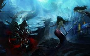 Картинка город, оружие, скалы, арт, пасть, монстры, трезубец, подводный мир, русалки, под водой, Mazert Young