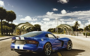 Картинка Dodge, Car, Viper, Blue, Sport, Road, SRT