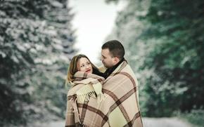 Картинка зима, Любовь, пара, плед, январь