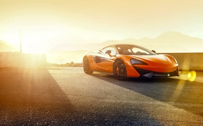 Картинка McLaren, Orange, Race, Power, Front, Supercar, Track, 570S
