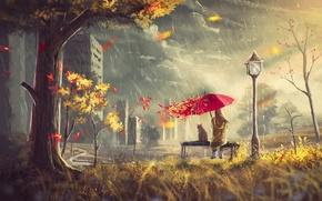 Картинка тучи, ветер, зонт, дождь, листья, дерево, улица, дом, девушка, осень, кот