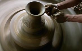 Картинка фото, руки, кувшин, глина
