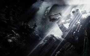 Обои свет, оружие, человек, противогаз, подземка, Metro: Last Light