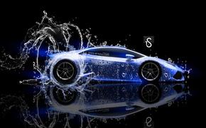 Картинка Тони Кохан, Вода, Tony Kokhan, Blue, el Tony Cars, Синий, Ламборгини, Вид Сбоку, Водяная, Photoshop, ...