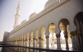 Картинка площадь, арки, купола, абу-даби, минарет, Abu dhabi, мечеть шейха зайда