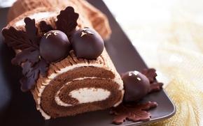 Обои baking, выпечка, cake, сладкое, chocolate, бисквит, biscuit, sweet, крем, шоколад, пирожное, рулет, roll