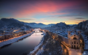 Картинка зима, мост, город, огни, река, дома, Австрия, Зальцбург, Январь