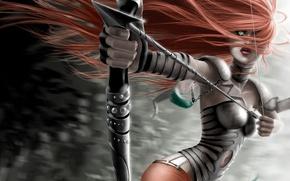 Обои девушка, лук, стрела, волосы