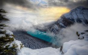 Обои горы, туман, река