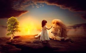 Картинка лев, арт, девочка