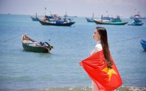Обои море, лето, девушка, лицо, платье, флаг, Вьетнам