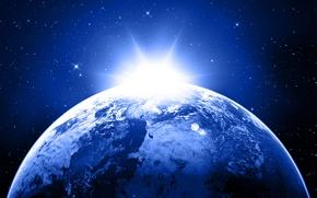 Картинка light, Star, blue, sunrise, planet, Sci Fi