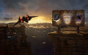 Картинка космические корабли, полет, каньон, щит, станция, челнок