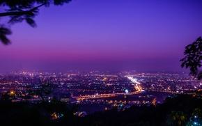 Картинка небо, ночь, город, lights, освещение, панорама, Тайвань, sky, panorama, night, фиолетовое, purple, Taiwan, Taichung City, …