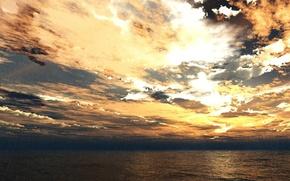 Картинка море, закат, дождь, 3d-графика, TRBRCHDM