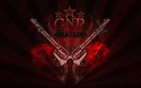 Картинка стволы, розы, логотип, рок, Guns N' Roses