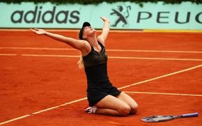Картинка песок, взгляд, радость, победа, мяч, руки, рыжий, блондинка, ракетка, красавица, Peugeot, Мария Шарапова, Maria Sharapova, …