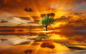 Картинка небо, вода, облака, пейзаж, отражение, дерево, лодка