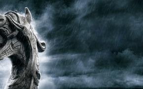 Картинка язык, дождь, дракон, клыки, vikings, дракар