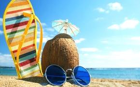 Картинка море, лето, зонтик, кокос, очки