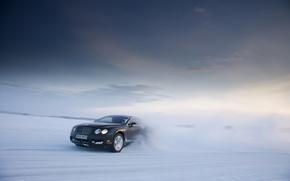 Обои Bentley, Continental GT, фон, зима