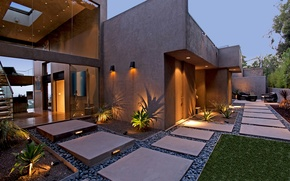 Картинка дом, окна, интерьер, растения, освещение, кресла, лестница, картины, столик